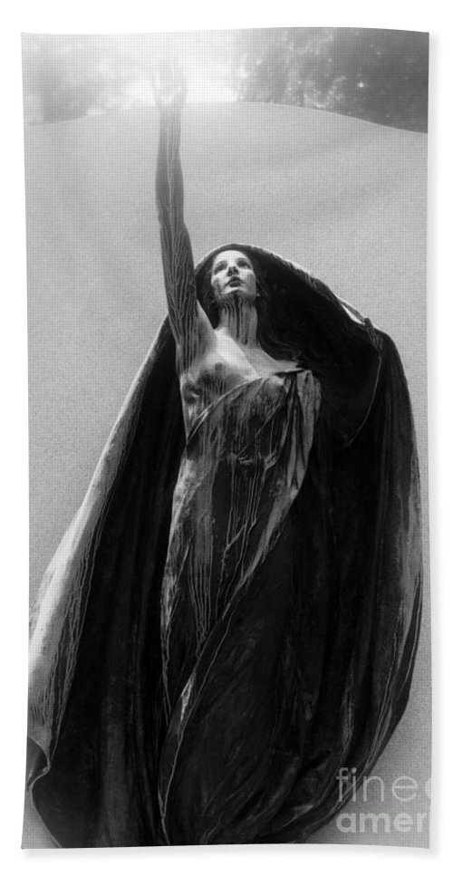 Cemetery Hand Towel featuring the photograph Gothic Surreal Haunting Female Cemetery Mourner Figure Black Caped Woman In Front Of Gravestone by Kathy Fornal