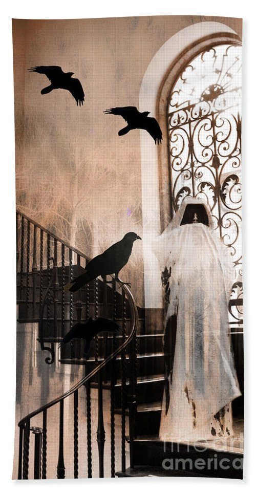 Grim Reaper Hand Towel featuring the photograph Gothic Grim Reaper With Ravens Crows - Spooky Haunting Surreal Gothic Art by Kathy Fornal