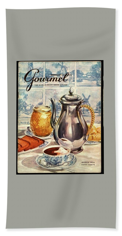 Illustration Bath Towel featuring the photograph Gourmet Cover Featuring An Illustration by Hilary Knight