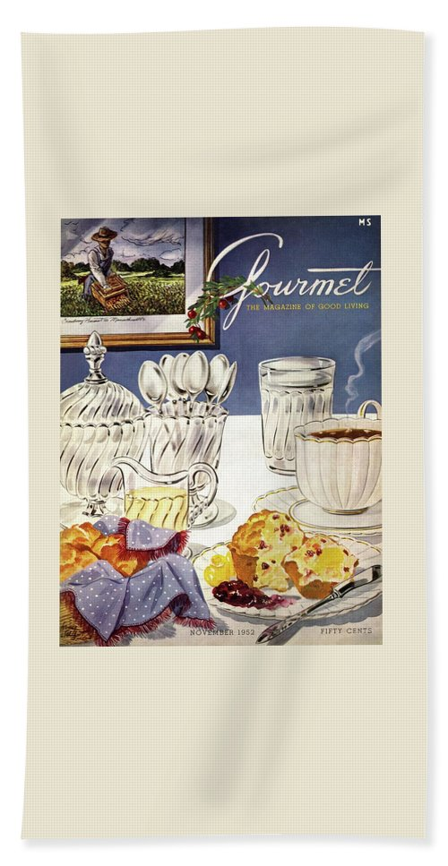 Food Bath Towel featuring the photograph Gourmet Cover Illustration Of Cranberry Muffins by Henry Stahlhut