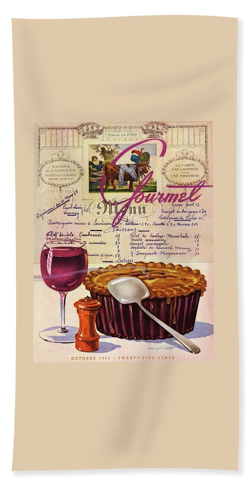 Food Bath Towel featuring the photograph Gourmet Cover Illustration Of Deep Dish Pie by Henry Stahlhut