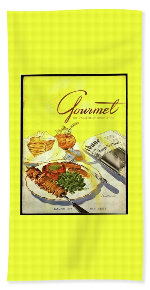 Illustration Bath Towel featuring the photograph Gourmet Cover Illustration Of Grilled Breakfast by Henry Stahlhut
