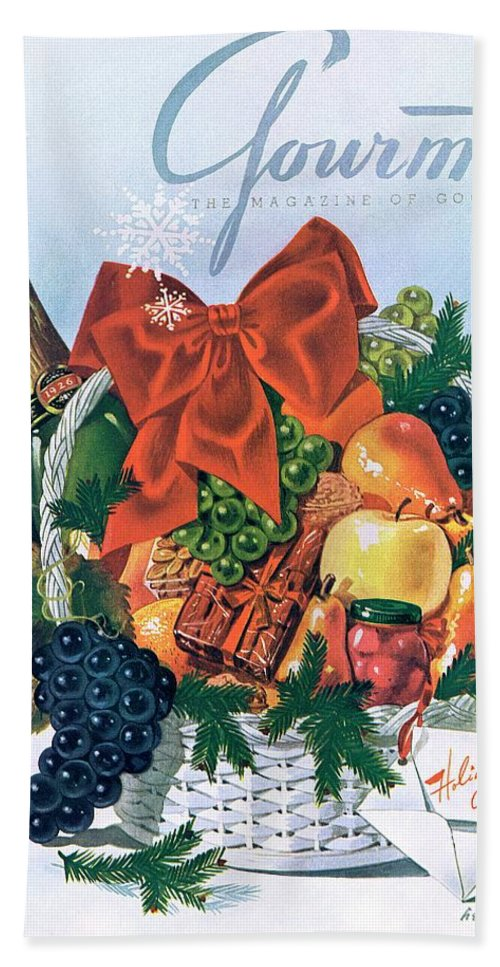 Food Bath Towel featuring the photograph Gourmet Cover Illustration Of Holiday Fruit Basket by Henry Stahlhut