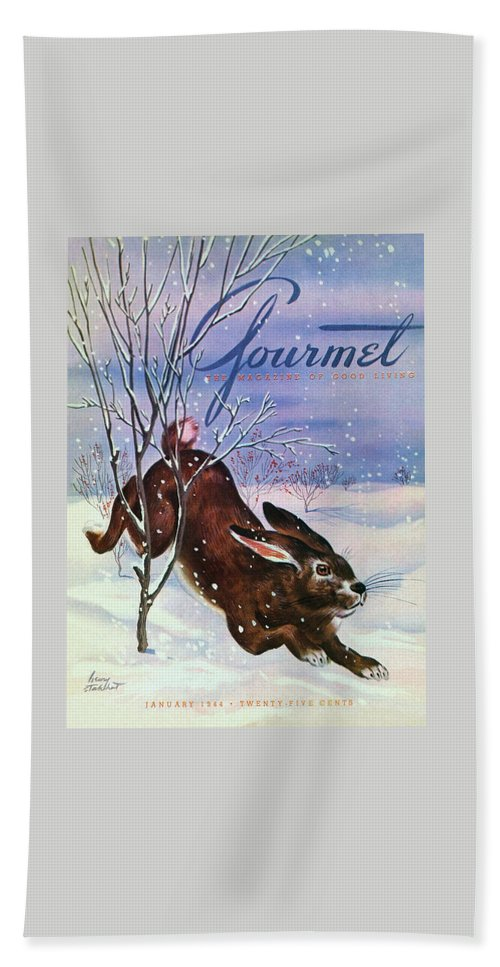 Illustration Bath Towel featuring the photograph Gourmet Cover Of A Rabbit On Snow by Henry Stahlhut