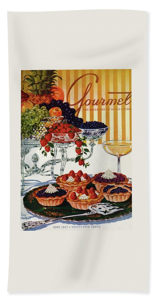 Food Bath Towel featuring the photograph Gourmet Cover Of Fruit Tarts by Henry Stahlhut