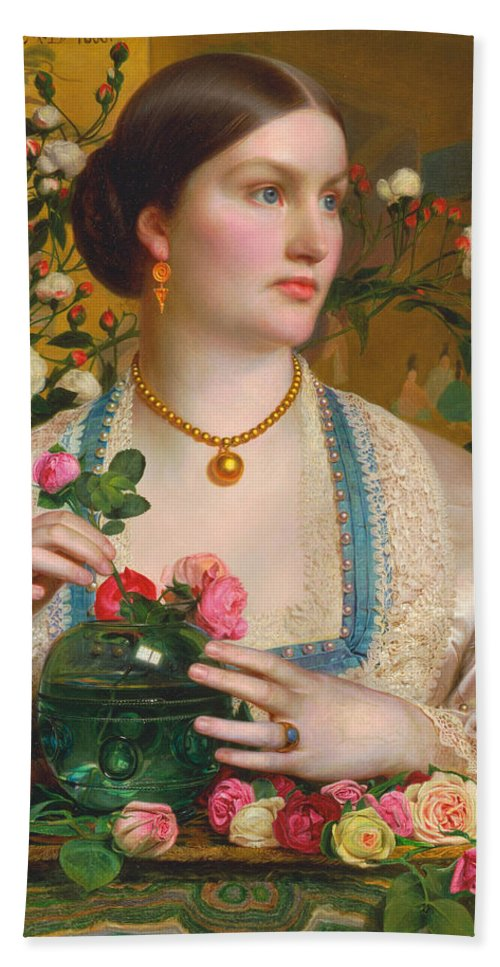 Frederick Sandys Bath Sheet featuring the painting Grace Rose by Frederick Sandys