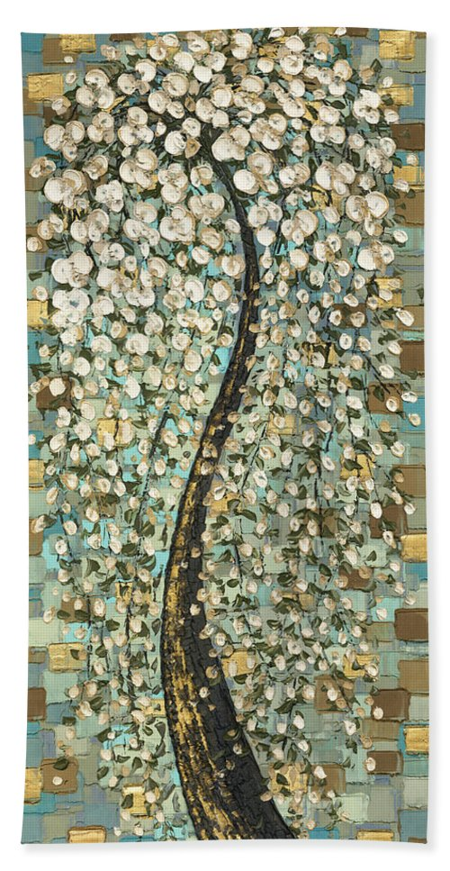 Art Bath Sheet featuring the painting Cherry Blossom Tree- Snow Funtain by Susanna Shaposhnikova