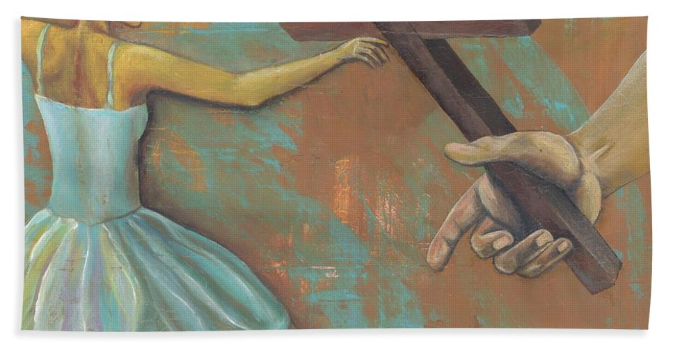 Representation Hand Towel featuring the painting 'grace Was Given' by Whitney Tomlin