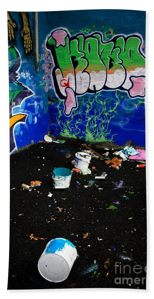Banksy Bath Sheet featuring the photograph Graffiti by Deborah Benbrook