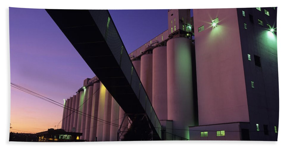 Load Bath Sheet featuring the photograph Grain Terminal Seattle Waterfront by Jim Corwin