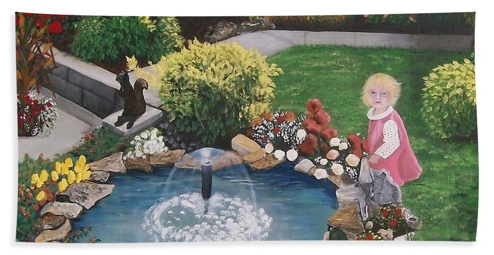 Landscape Hand Towel featuring the painting Gramma Nanna S Pond by Sharon Duguay