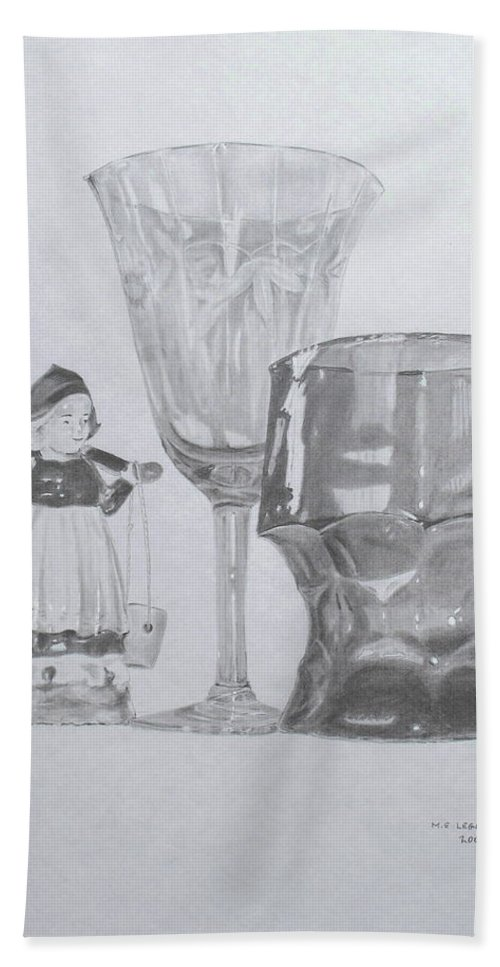 Glassware Bath Towel featuring the drawing Grammas Glasses by Mary Ellen Mueller Legault