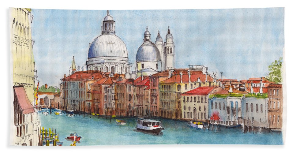 Venice Bath Sheet featuring the painting Grand Canal And Santa Maria Della Salute Venice by Dai Wynn