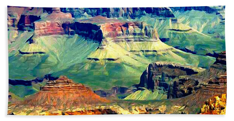 Grand Canyon Bath Sheet featuring the painting Grand Canyon After Monsoon Rains by Bob and Nadine Johnston
