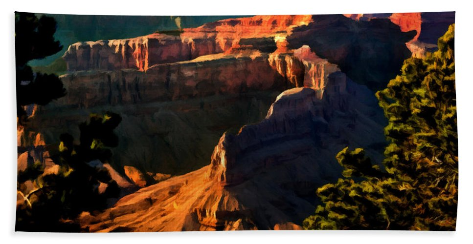 Grand Canyon National Park Hand Towel featuring the painting Grand Canyon At Sunset by Bob and Nadine Johnston