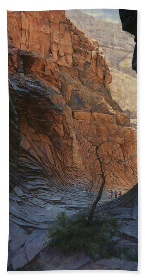 Don Langeneckert Hand Towel featuring the painting Arizona Hike Into Canyon by Don Langeneckert