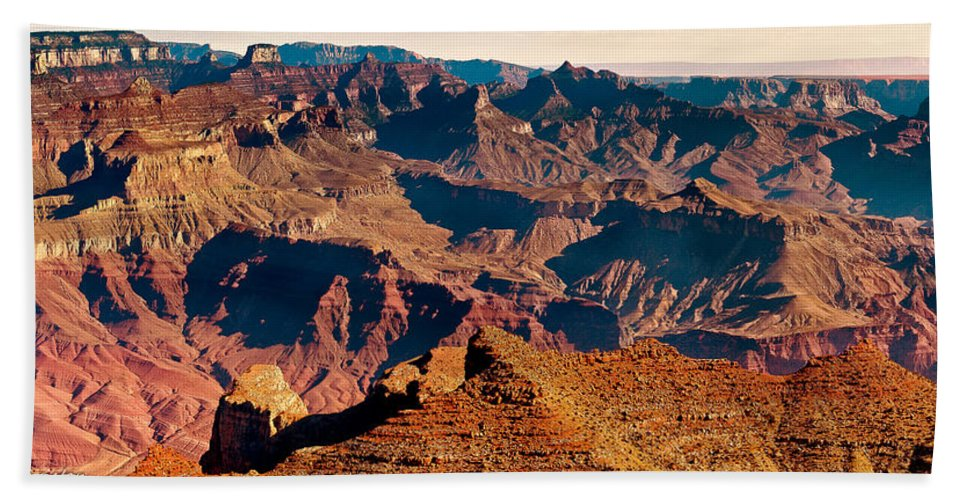Grand Canyon Bath Sheet featuring the photograph Grand Canyon Navajo Point Panorama At Sunrise by Bob and Nadine Johnston