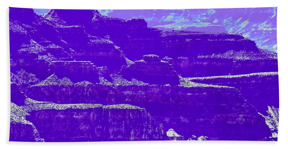 Enhanced Color Photo Hand Towel featuring the digital art Grand Canyon Purples by Tim Richards