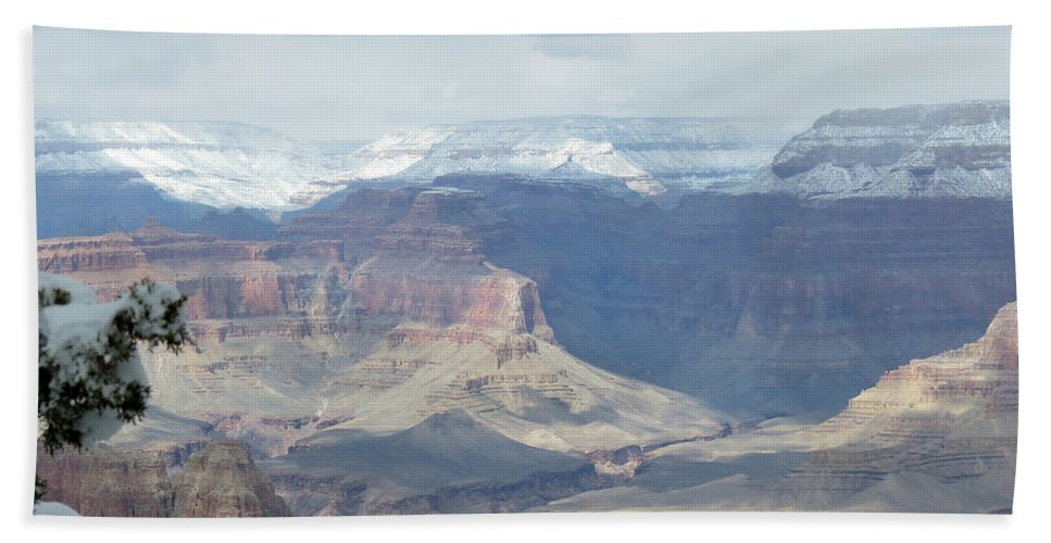 Grand Canyon Hand Towel featuring the photograph Grand Canyon Shadows And Snow by Laurel Powell