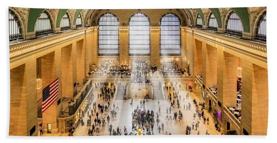 New York City Bath Sheet featuring the photograph Grand Central Terminal Birds Eye View I by Susan Candelario