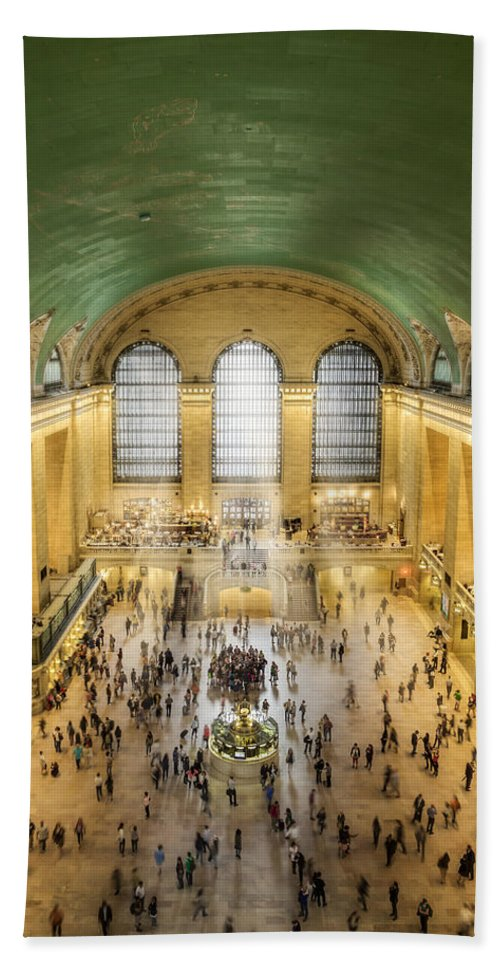 New York City Bath Sheet featuring the photograph Grand Central Terminal Birds Eye View by Susan Candelario