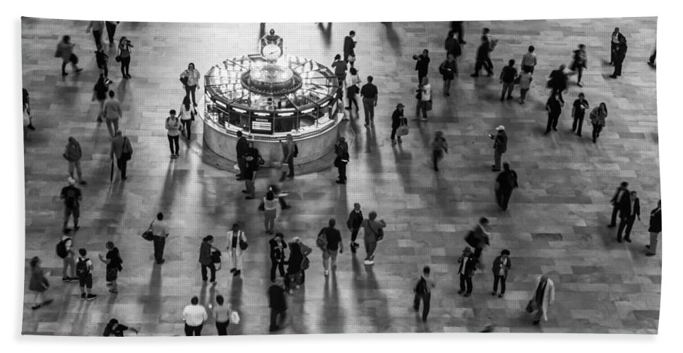 New York City Bath Sheet featuring the photograph Grand Central Terminal Clock Birds Eye View II Bw by Susan Candelario