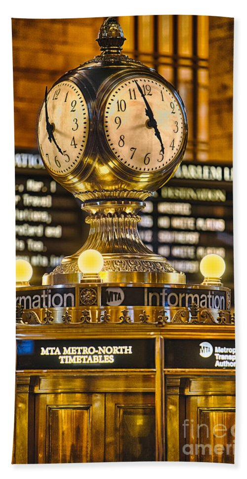 Grand Central Terminal Bath Sheet featuring the photograph Grand Cerntral Terminal Clock No. 1 by Jerry Fornarotto