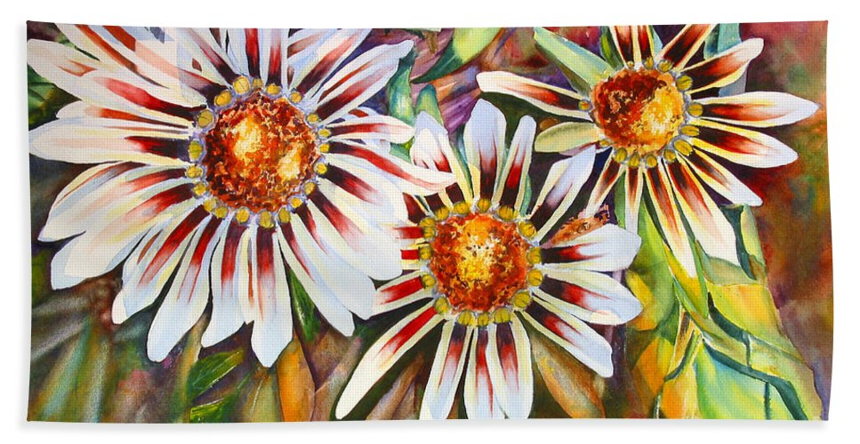 Background Bath Sheet featuring the painting Grand Gazanias by Mohamed Hirji