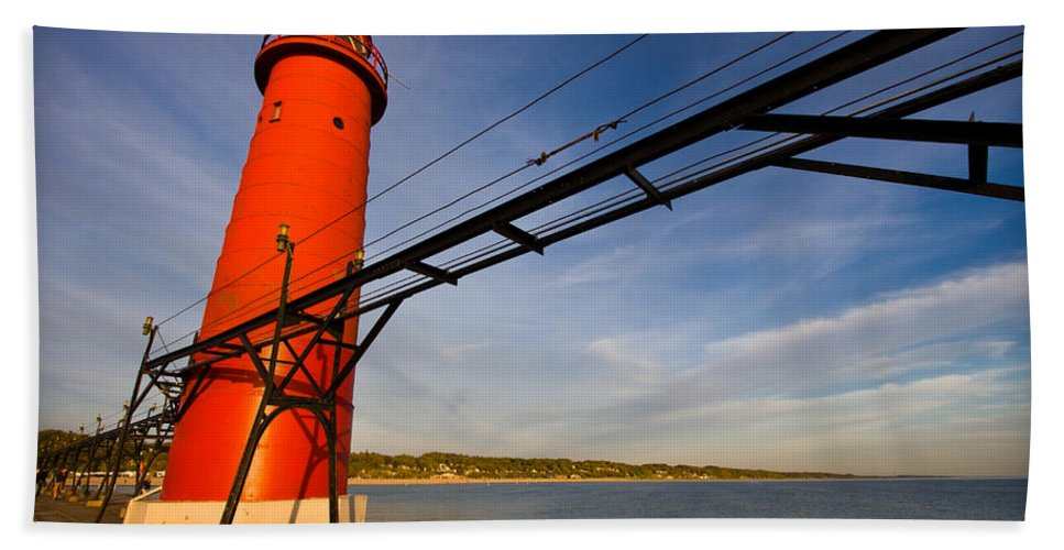 3scape Bath Towel featuring the photograph Grand Haven Lighthouse by Adam Romanowicz