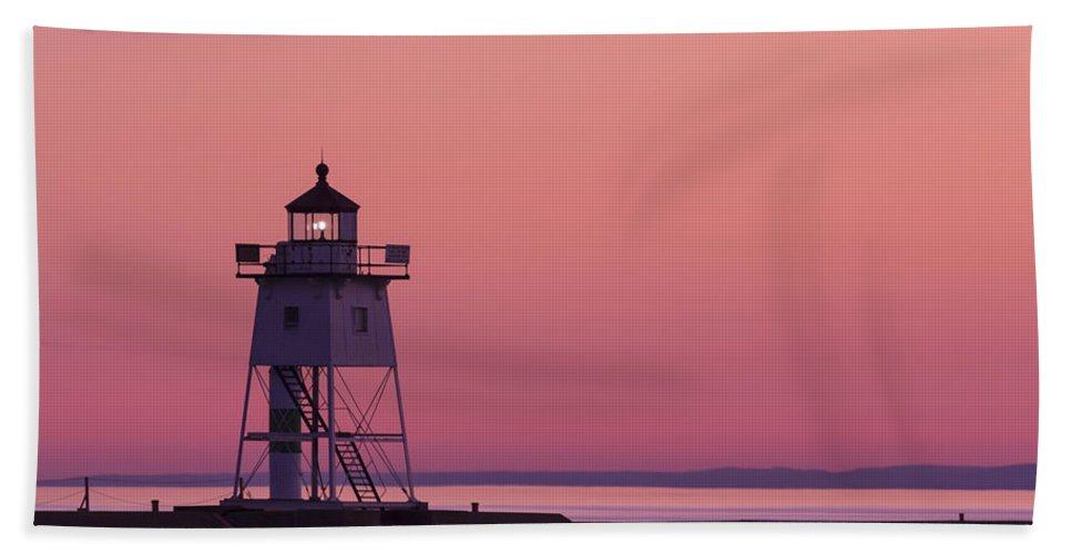 Lighthouse Bath Sheet featuring the photograph Grand Marais Mn Lighthouse 8 by John Brueske