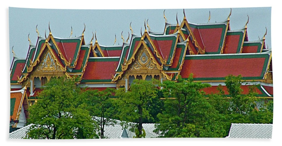 Grand Palace Of Thailand From Waterways Of Bankok Hand Towel featuring the photograph Grand Palace Of Thailand From Waterways Of Bangkok-thailand by Ruth Hager