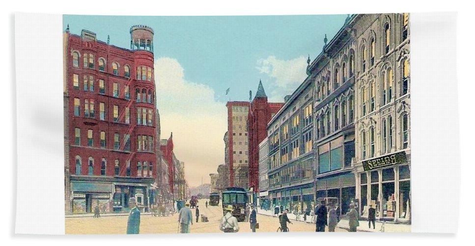 Grand Rapids Bath Sheet featuring the digital art Grand Rapids - Michigan - Campau Square And Monroe Street - 1912 by John Madison