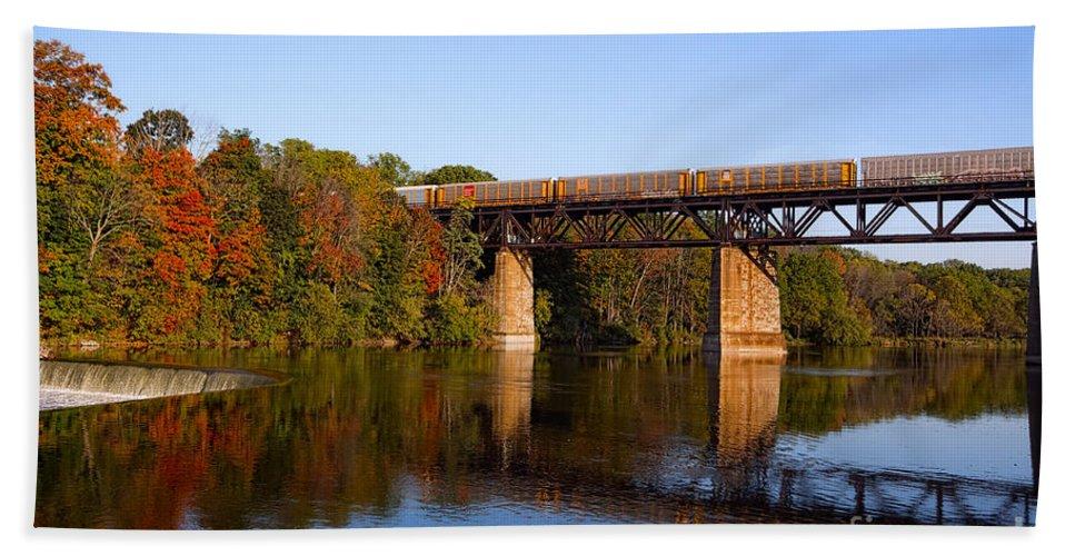 Landscape Bath Sheet featuring the photograph Grand River Autumn Freight Train by Barbara McMahon