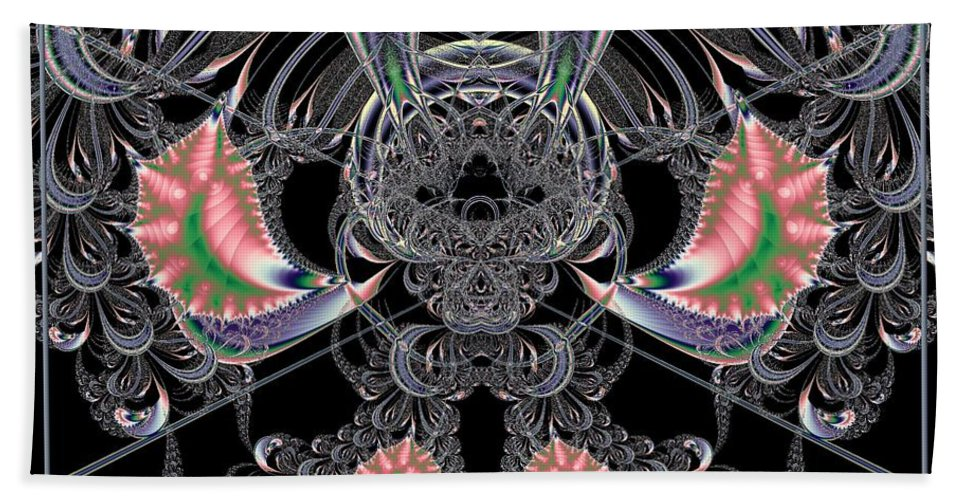 Theater Hand Towel featuring the digital art Grand Stage Entrance Fractal by Rose Santuci-Sofranko