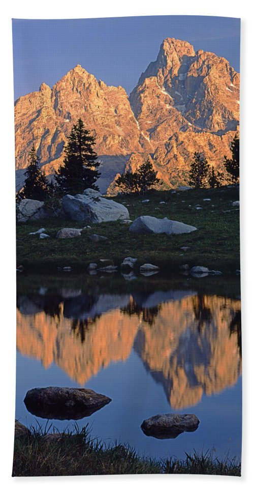 Mt. Owen Bath Sheet featuring the photograph 1m9376-grand Teton Reflect 2 by Ed Cooper Photography
