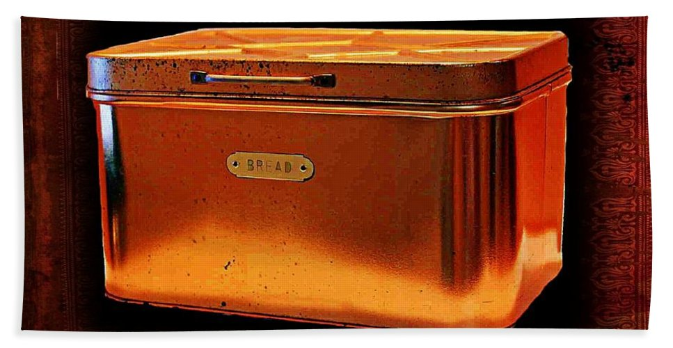 Vintage Bath Sheet featuring the photograph Grandma's Kitchen- Copper Breadbox by Ellen Cannon