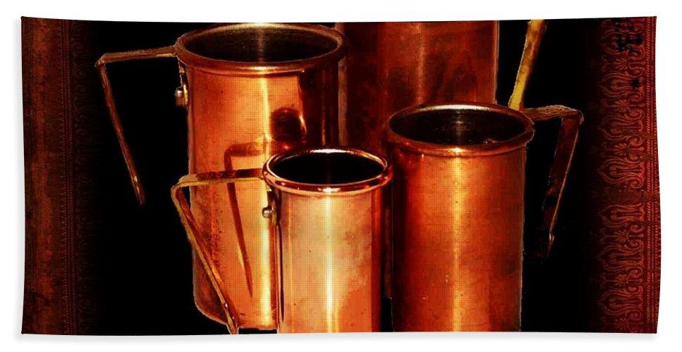 Vintage Bath Sheet featuring the photograph Grandma's Kitchen-copper Measuring Cups by Ellen Cannon