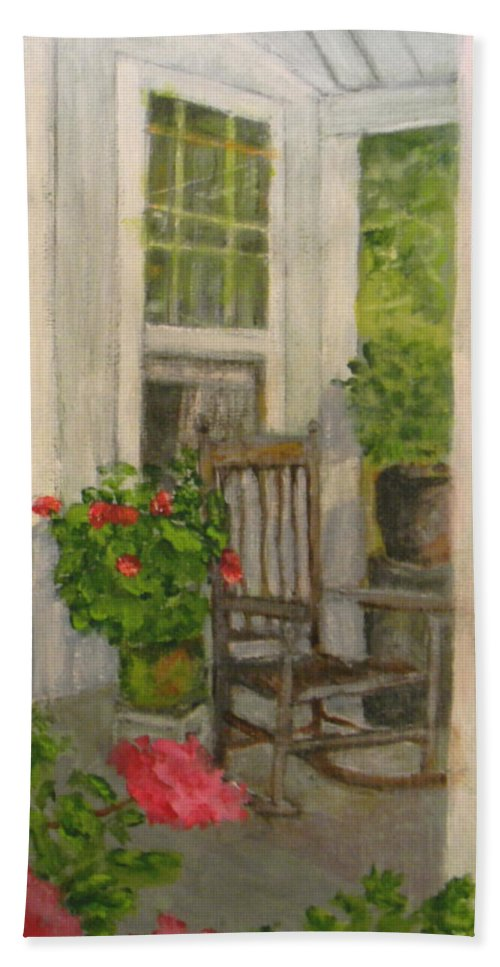Porch Bath Sheet featuring the painting Grandma's Rocker by Judie White