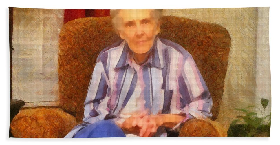 Chair Bath Towel featuring the painting Grandmother by Jeffrey Kolker