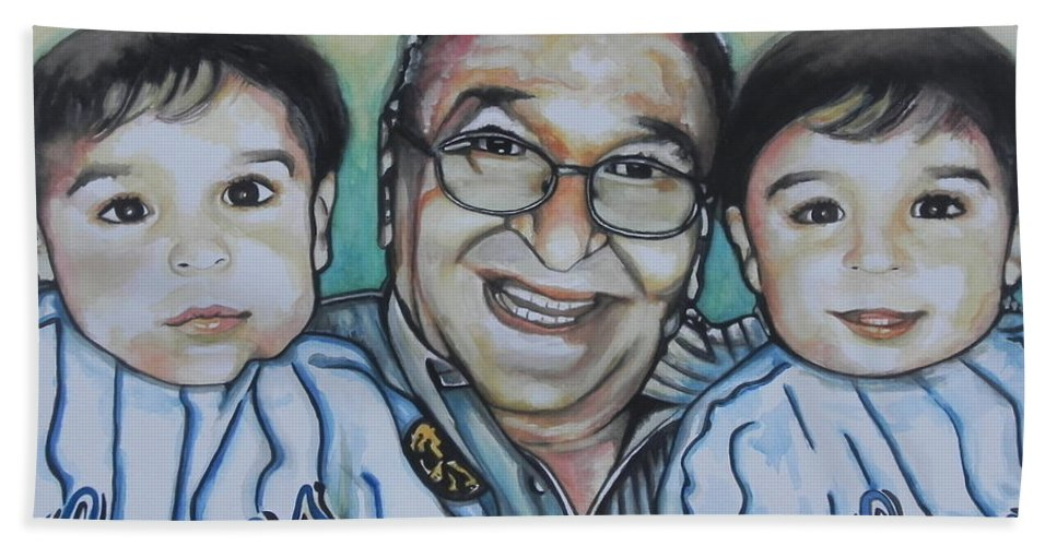 Watercolor Painting Hand Towel featuring the painting Grandpas Pride And Joy by Chrisann Ellis