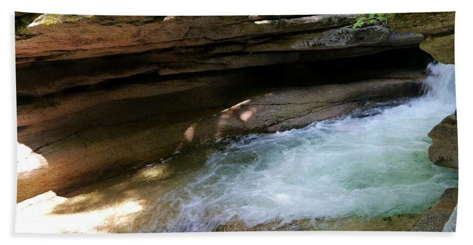 Fall Bath Sheet featuring the photograph Granite Boulder And Sabbaday Brook by Christiane Schulze Art And Photography