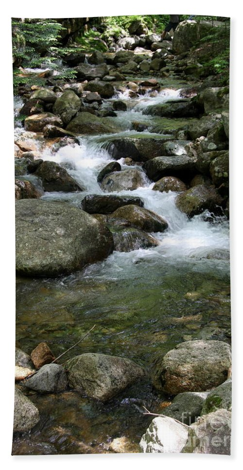 Pemigewasset River Hand Towel featuring the photograph Granite Boulders In A River by Christiane Schulze Art And Photography