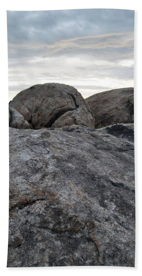 Mojave Desert Bath Sheet featuring the photograph Granite Mountain Boulders by Kyle Hanson