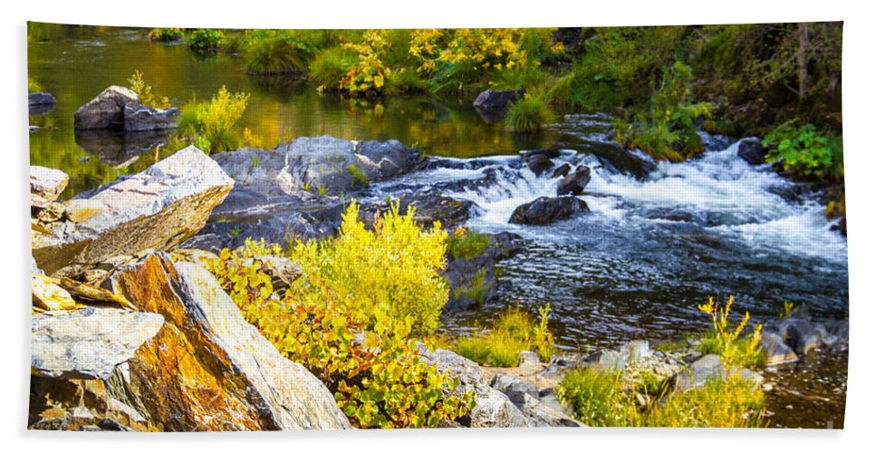 Granite Rocks Bath Sheet featuring the photograph Granite Rocks Above The Cascading Feather River, Quincy California by Tirza Roring