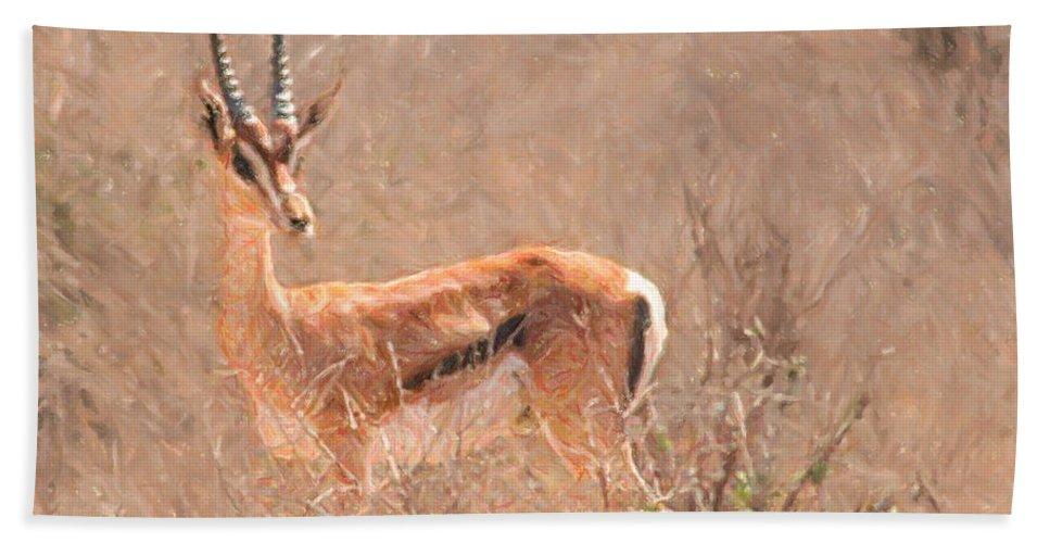 Grant's Gazelle Hand Towel featuring the digital art Grant's Gazelle Nanger Granti by Liz Leyden