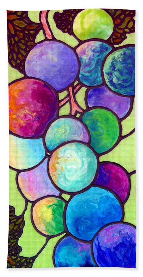 Stained Glass Hand Towel featuring the painting Grape De Chine by Sandi Whetzel