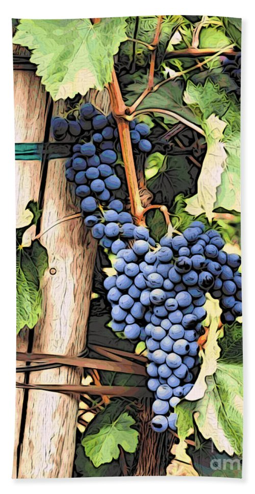 Kitchen Art Bath Sheet featuring the photograph Grapes 1 by Jacklyn Duryea Fraizer