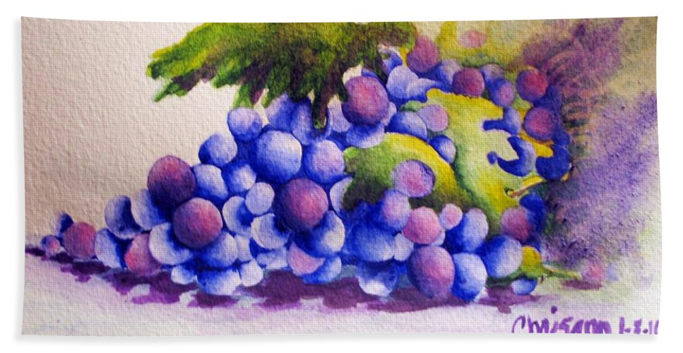 Fine Art Painting Bath Sheet featuring the painting Grapes by Chrisann Ellis