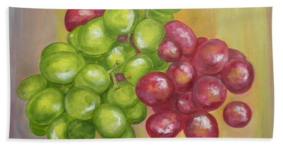 Grapes Bath Sheet featuring the painting Grapes by Graciela Castro