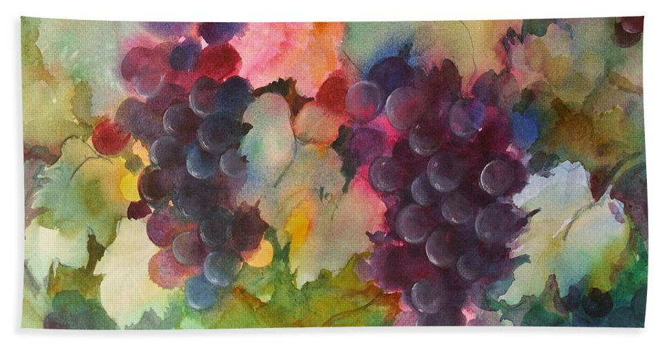 Grapes Hand Towel featuring the painting Grapes In Light by Michelle Abrams